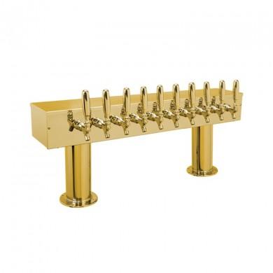 Dual Pedestal Draft Beer Tower 10 Faucet - PVD Brass