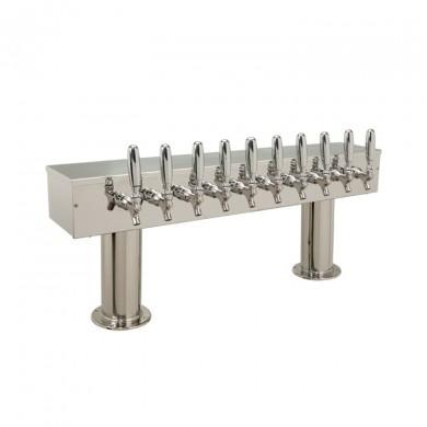Dual Pedestal Draft Beer Tower 8 Faucet - Stainless Steel
