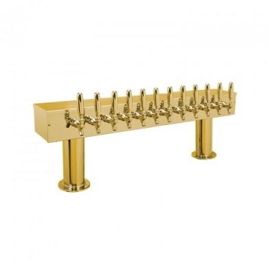 Dual Pedestal Draft Beer Tower 12 Faucet - PVD Brass