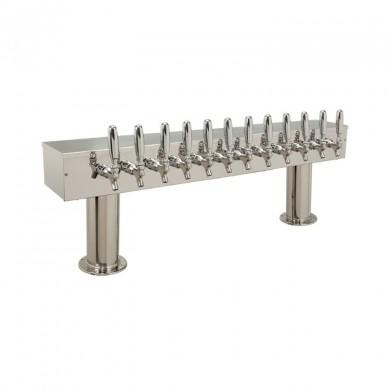 Dual Pedestal Draft Beer Tower 12 Faucet - Stainless Steel