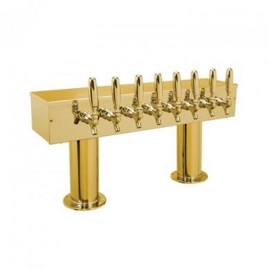 Dual Pedestal Draft Beer Tower 8 Faucet - PVD Brass