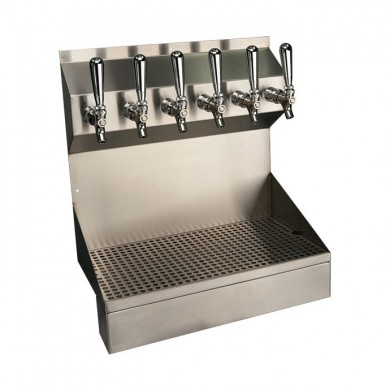 Kronos Draft Beer Wall Mount Dispenser 6 Faucet – Brushed Stainless Steel