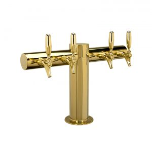 """Metro """"T"""" Draft Beer Tower 4 Faucet - PVD Brass Finish"""
