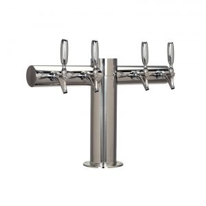 """Metro """"T"""" Draft Beer Tower 4 Faucet - Stainless Steel Finish"""