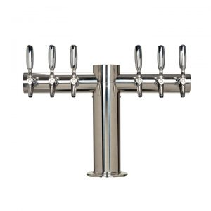 """Metro """"T"""" Draft Beer Tower 6 Faucet - Stainless Steel Finish"""