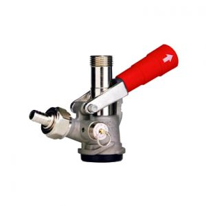 """""""D"""" System Sankey Keg Coupler - Stainless Steel Body - Red Handle"""