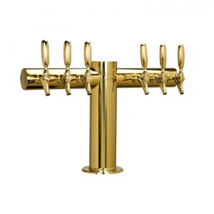 "Metro ""T"" Draft Beer Tower 6 Faucet - PVD Brass Finish"