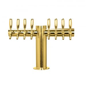 """Metro """"T"""" Draft Beer Tower 8 Faucet - PVD Brass Finish"""