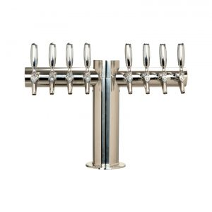 """Metro """"T"""" Draft Beer Tower 8 Faucet - Stainless Steel Finish"""