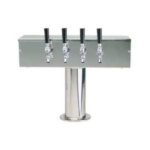 """""""T"""" Style Draft Beer Tower (4in Col) - 4 Faucet - Stainless Steel"""