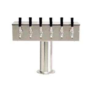 """T"" Draft Beer Tower (4in Col) 6 Faucet - Stainless Steel"