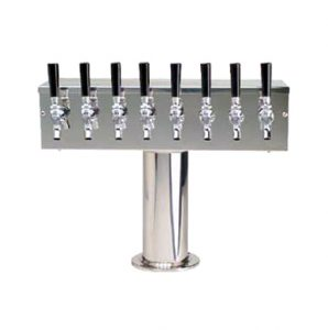 """""""T"""" Style Draft Beer Tower (4"""" Col) - 8 Faucet - Stainless Steel"""