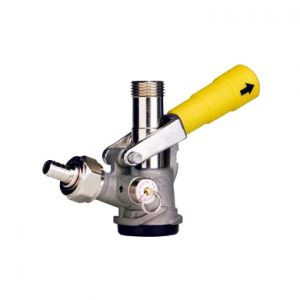 """D"" System Sankey Keg Coupler - Stainless Steel Body - Yellow Handle"