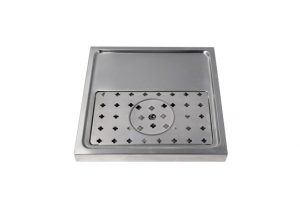 """15-3/4"""" Platform Drip Tray Stainless Steel with Glass Rinser"""