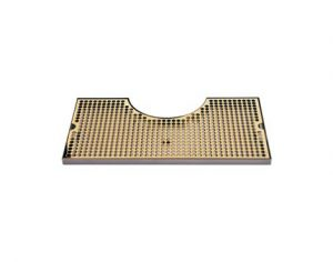"""19 3/4"""" - Stainless Steel/PVD Brass Zeus Tower Surface Mount Drip Tray - 8 3/8"""" Cut-Out"""