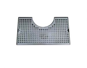 """14"""" Stainless Steel Cut-Out Surface Mount Drip Tray no Drain - 4"""" Column14"""" Cut-Out Surface Mount Drip Tray no Drain - 4"""" Column"""