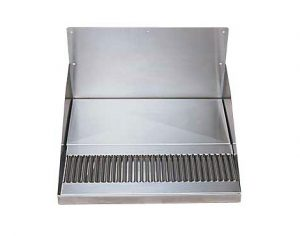 """15"""" Stainless Steel Barrel Head Drip Tray, with Drain"""