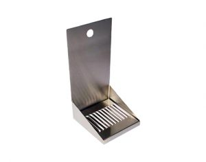 """6"""" Stainless Steel Wall Mount Drip Tray, with Drain"""